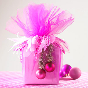 Pink christmas package bhg